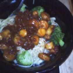 Shrimp, Broccoli, and Sun-dried Tomatoes Scampi with Angel Hair Ecce