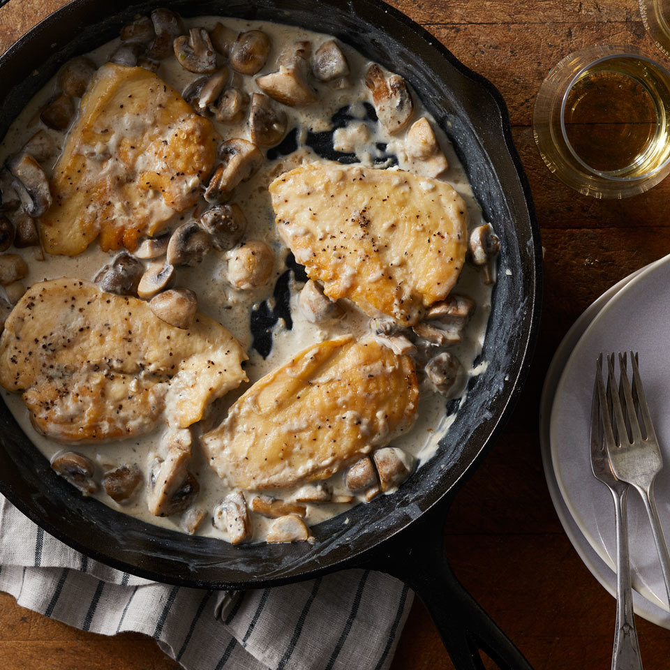 A rich and creamy sauce coats chicken breasts in this quick and comforting dinner. If you don't have chicken cutlets (thin-sliced boneless chicken breast) on hand, you can make your own by slicing two 8-ounce chicken breasts in half horizontally.