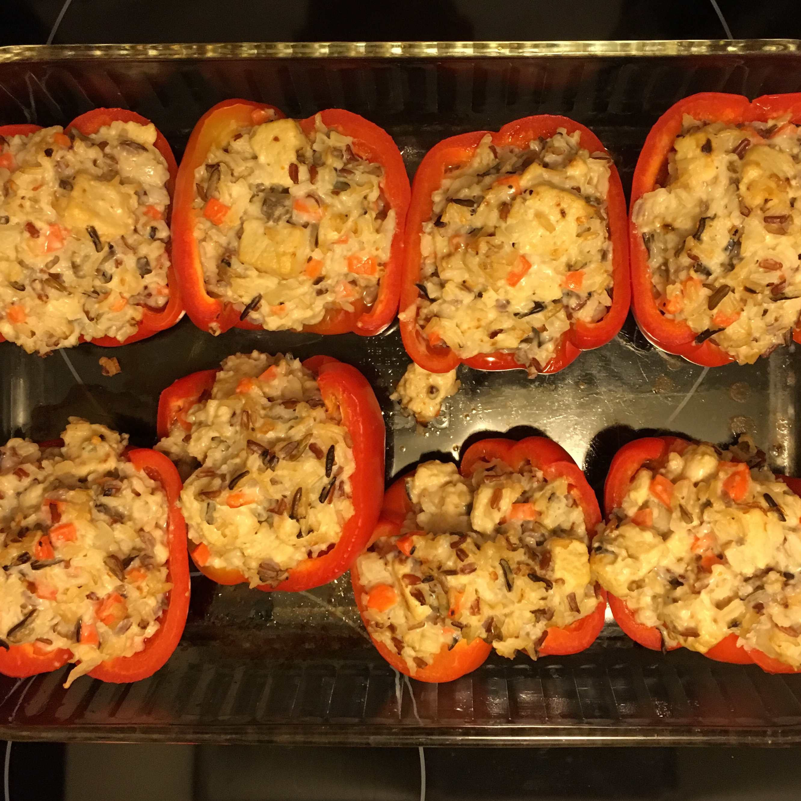 Chicken Wild Rice Stuffed Red Peppers Crowmish