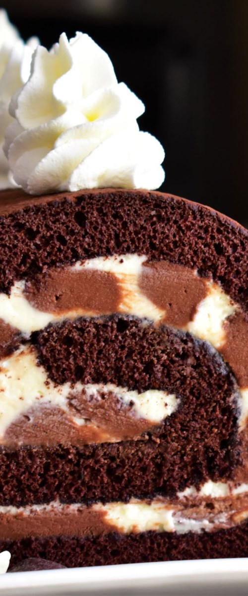 Triple Chocolate Roll Cake