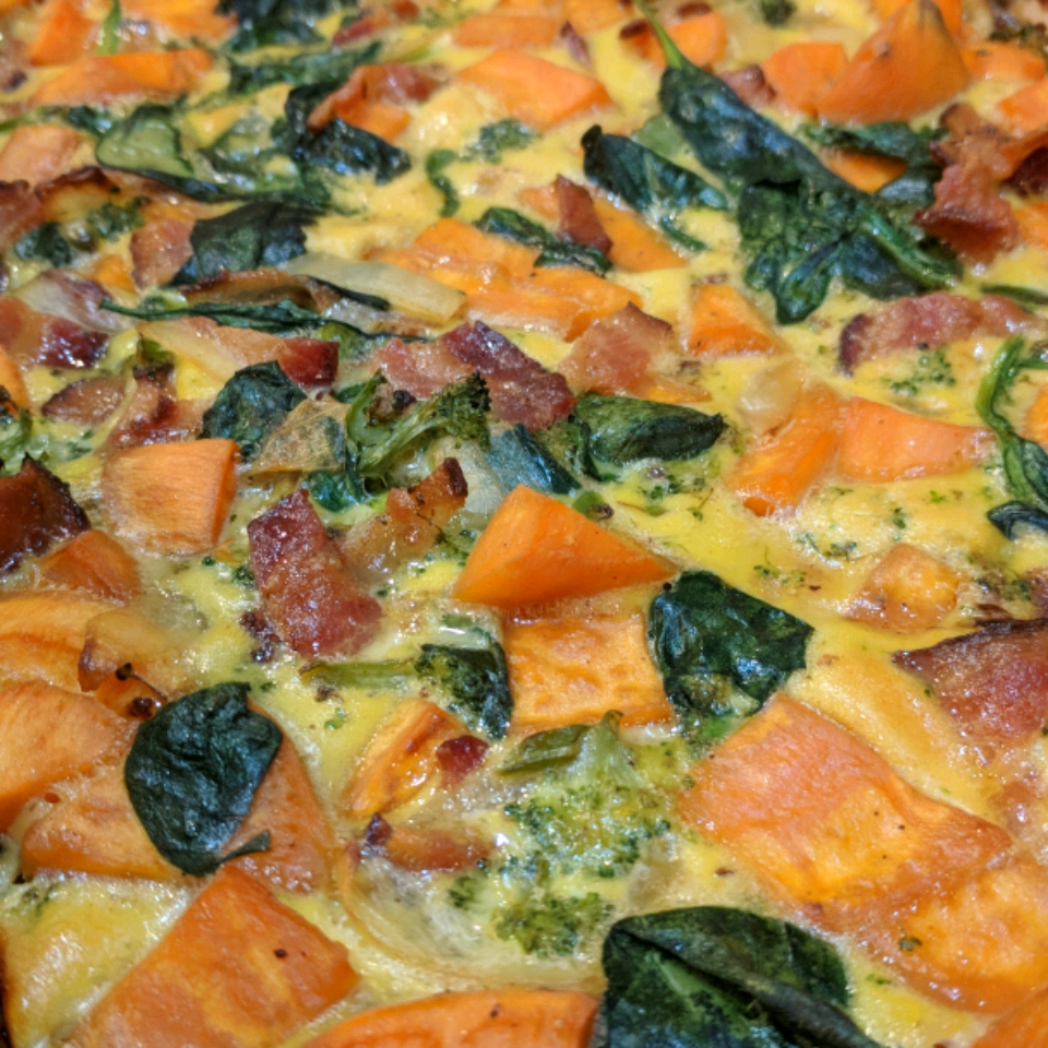 Healthy Sweet Potato and Bacon Breakfast Casserole