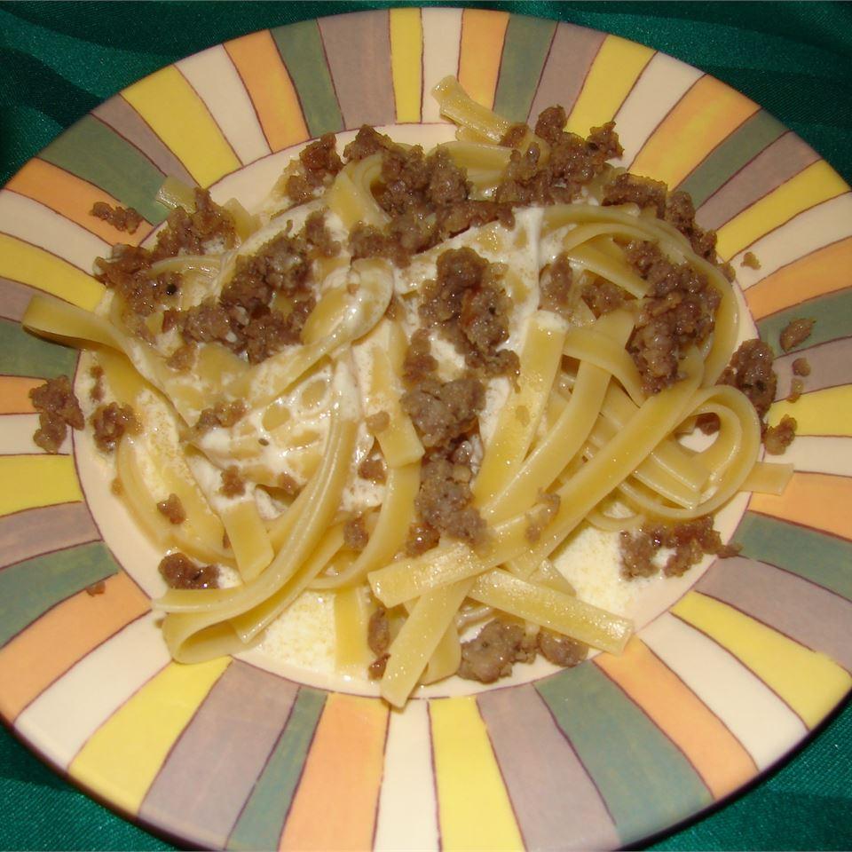 Fettuccini Alfredo With Sausage GodivaGirl