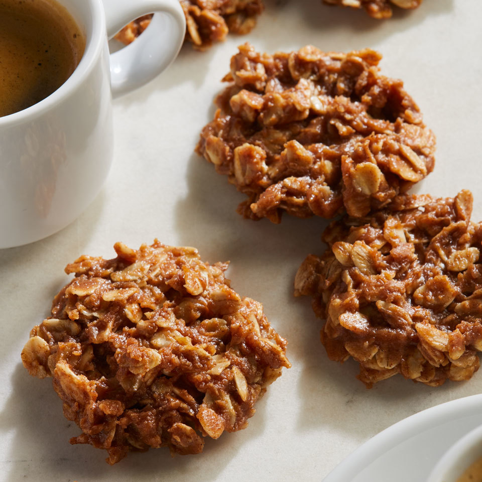 Almond butter and coconut oil melt together to bind these stovetop cookies without using any eggs. To take the flavor to the next level, try subbing in your favorite nut butter.