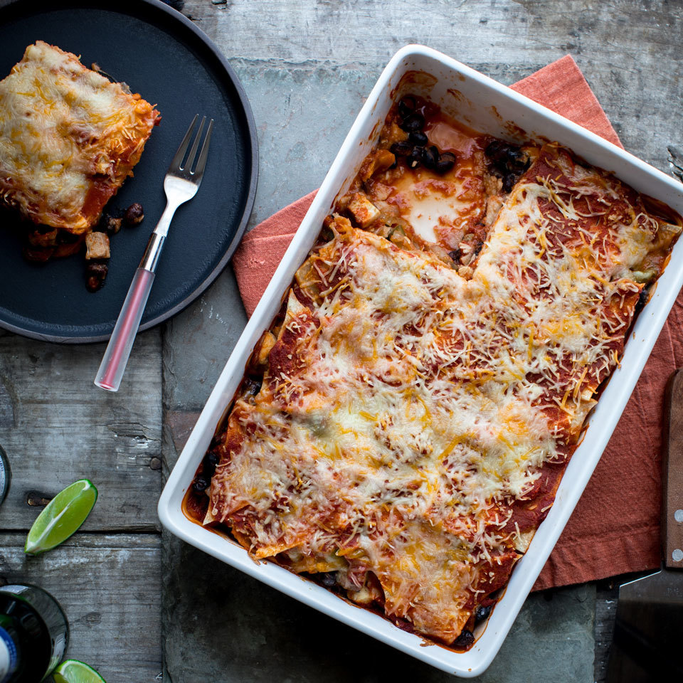 Casseroles make perfect meal-prep dinners—this enchilada version is so easy to prep ahead. The whole casserole can be built and left to hang out in the refrigerator for up to three days. Then all you have to do is bake it off on a busy night and you have a healthy dinner on the table in a jiff. The quick homemade enchilada sauce in this recipe is great when you don't have any of the canned sauce on hand—just season crushed tomatoes with spices and salt for an instant enchilada sauce.
