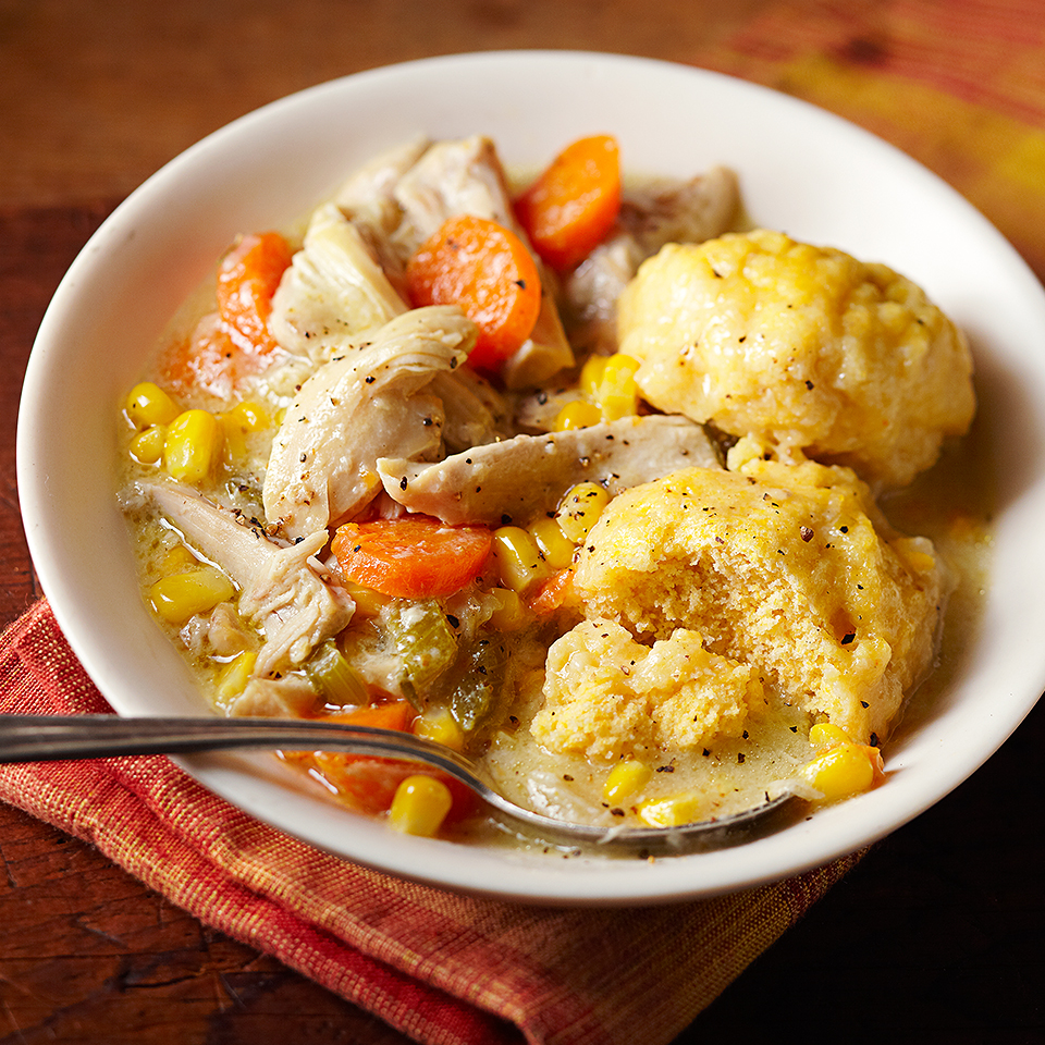 This version of chicken and dumplings provides plenty of vegetables with 5 grams of fiber per serving. Dumplings are made with 1 part flour and 1 part cornmeal to make them standout from a traditional flour dumpling. This hearty dinner option is the perfect comfort meal.