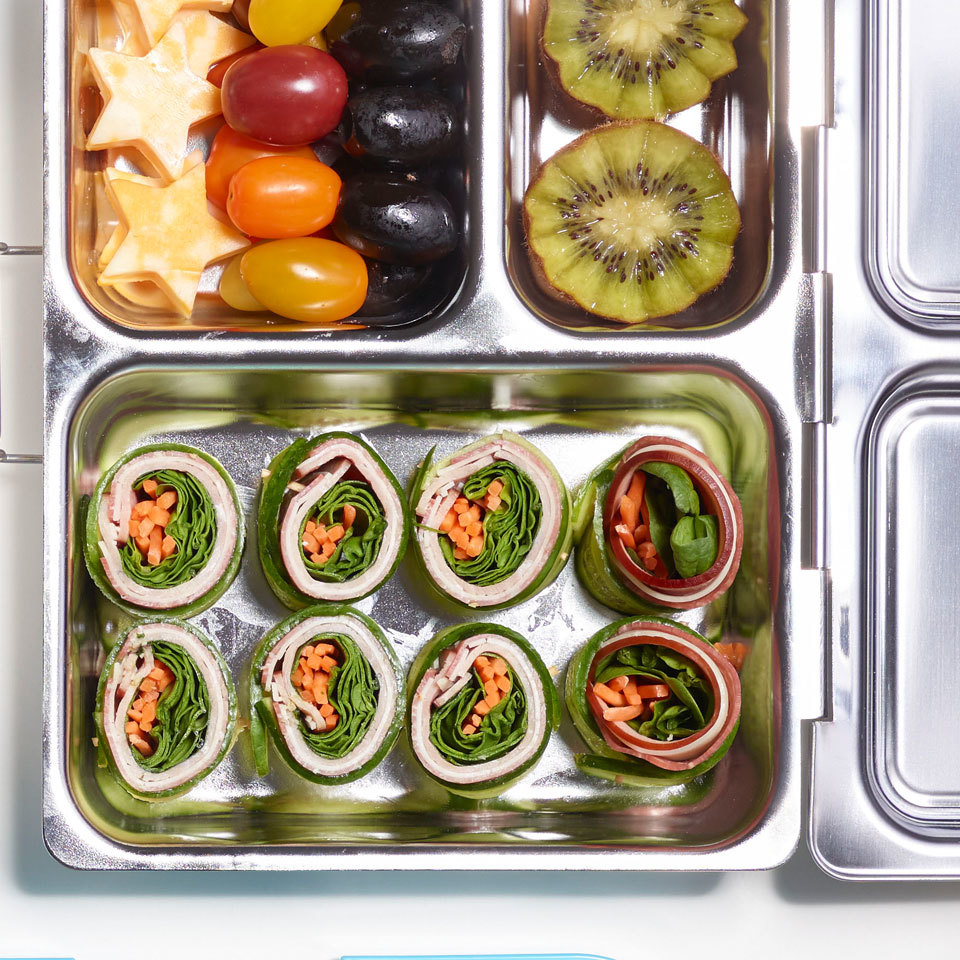 Meat & Cheese Cucumber Roll-Ups Bento Box Lunch Breana Killeen