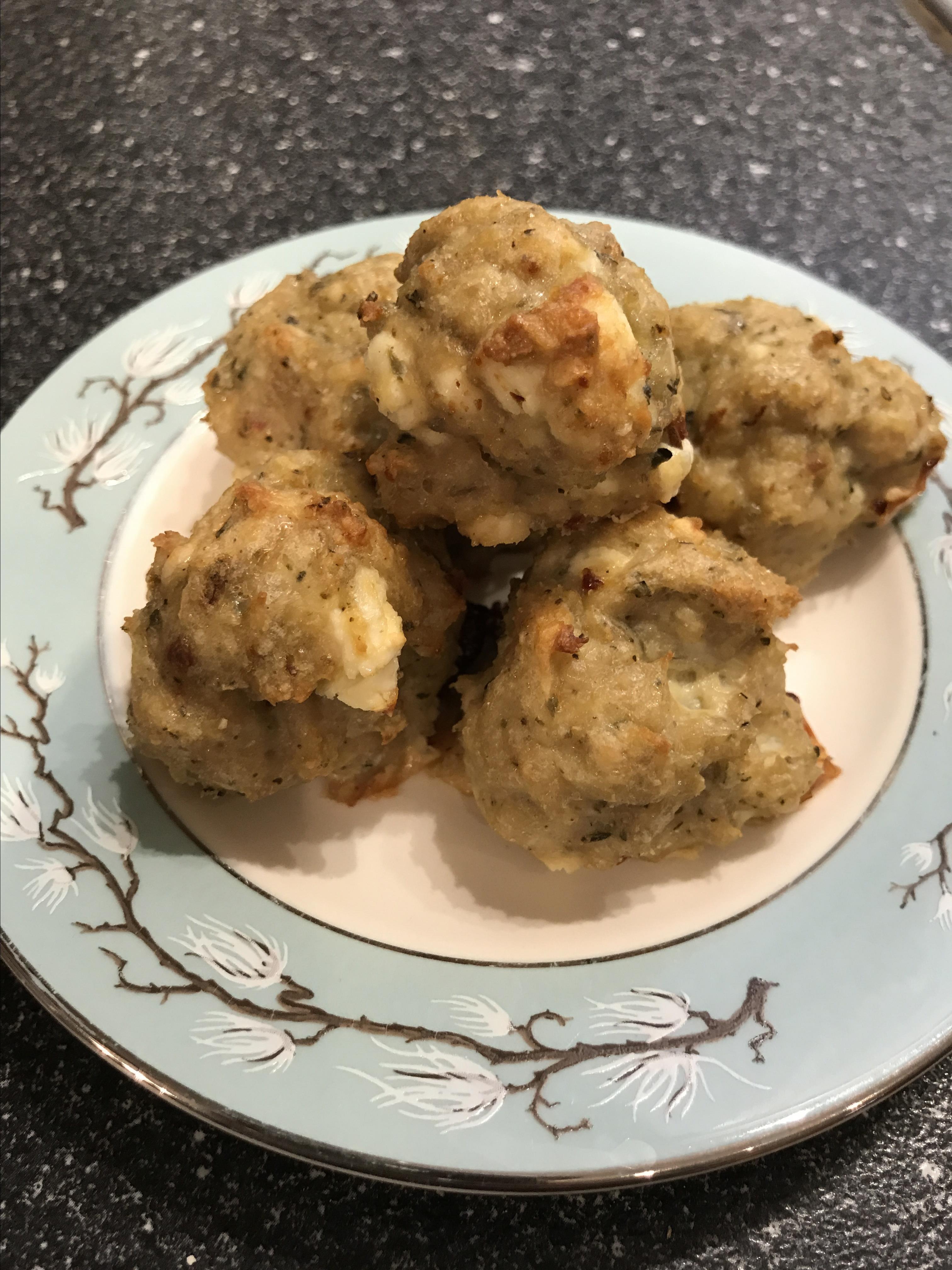 Cheesy Chicken Meatballs JenMutt