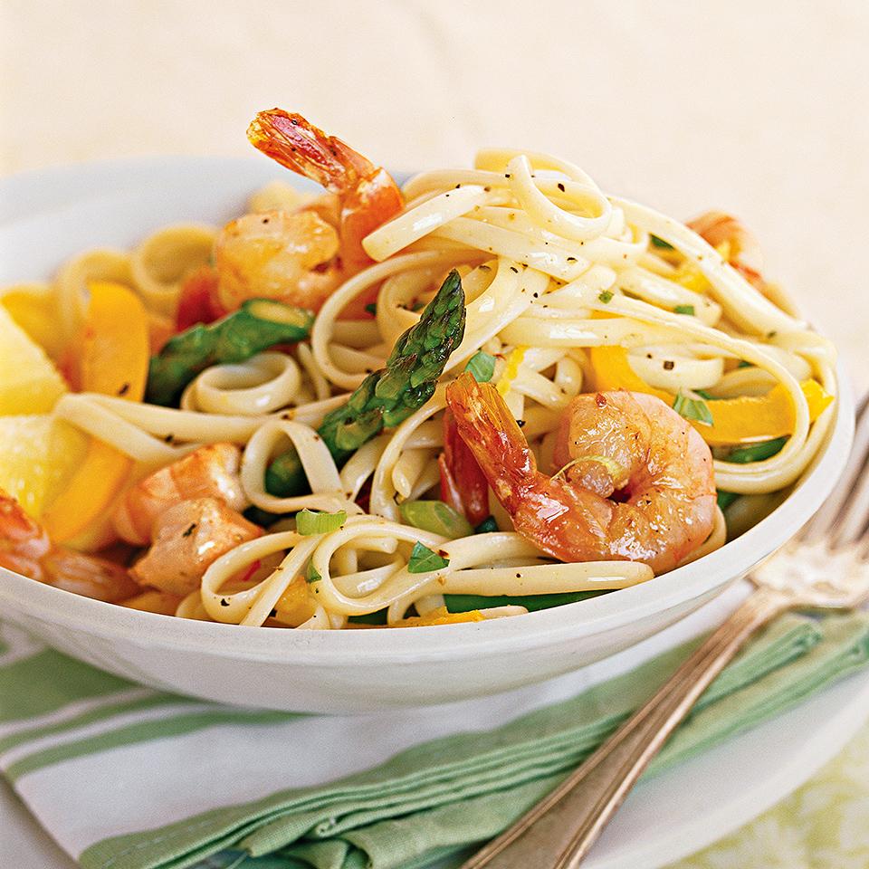 Basil Lemon Shrimp Linguine