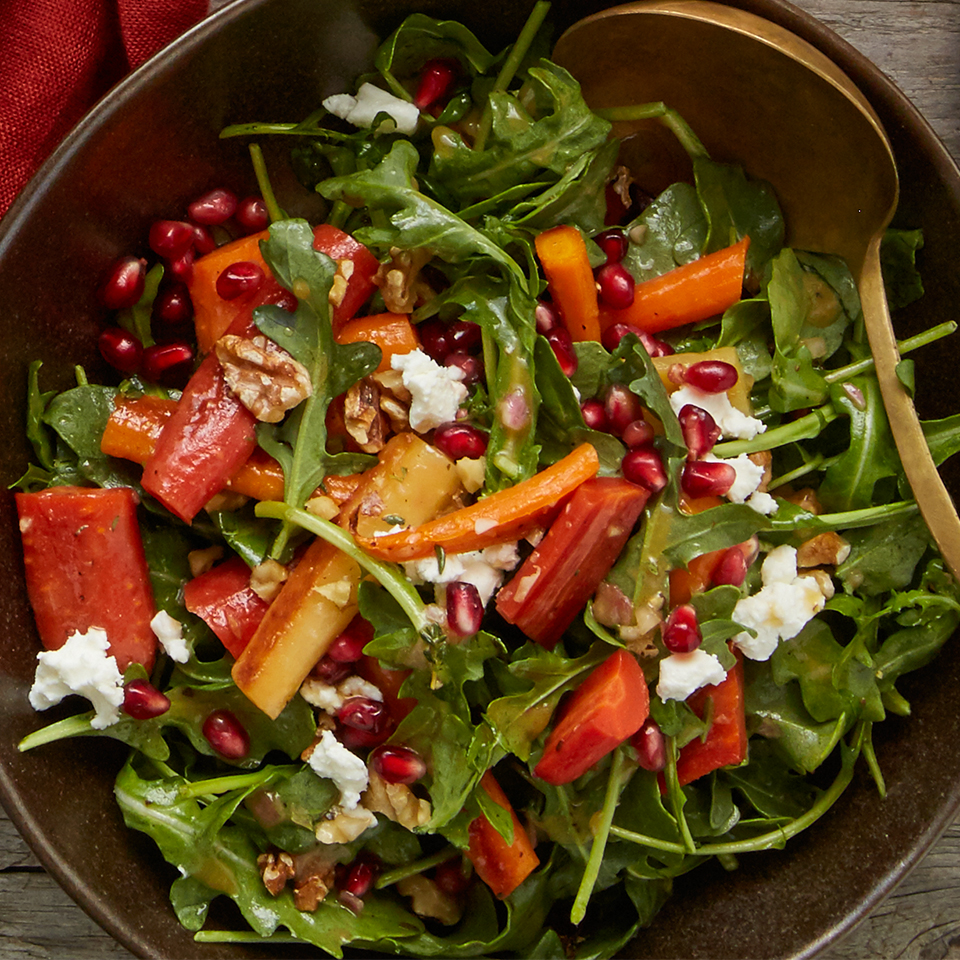 This arugula salad creation is a quick-and-easy solution to enhance any meal. Use the Maple-Thyme Baby Carrot recipe to add extra flavor and balance to this salad.
