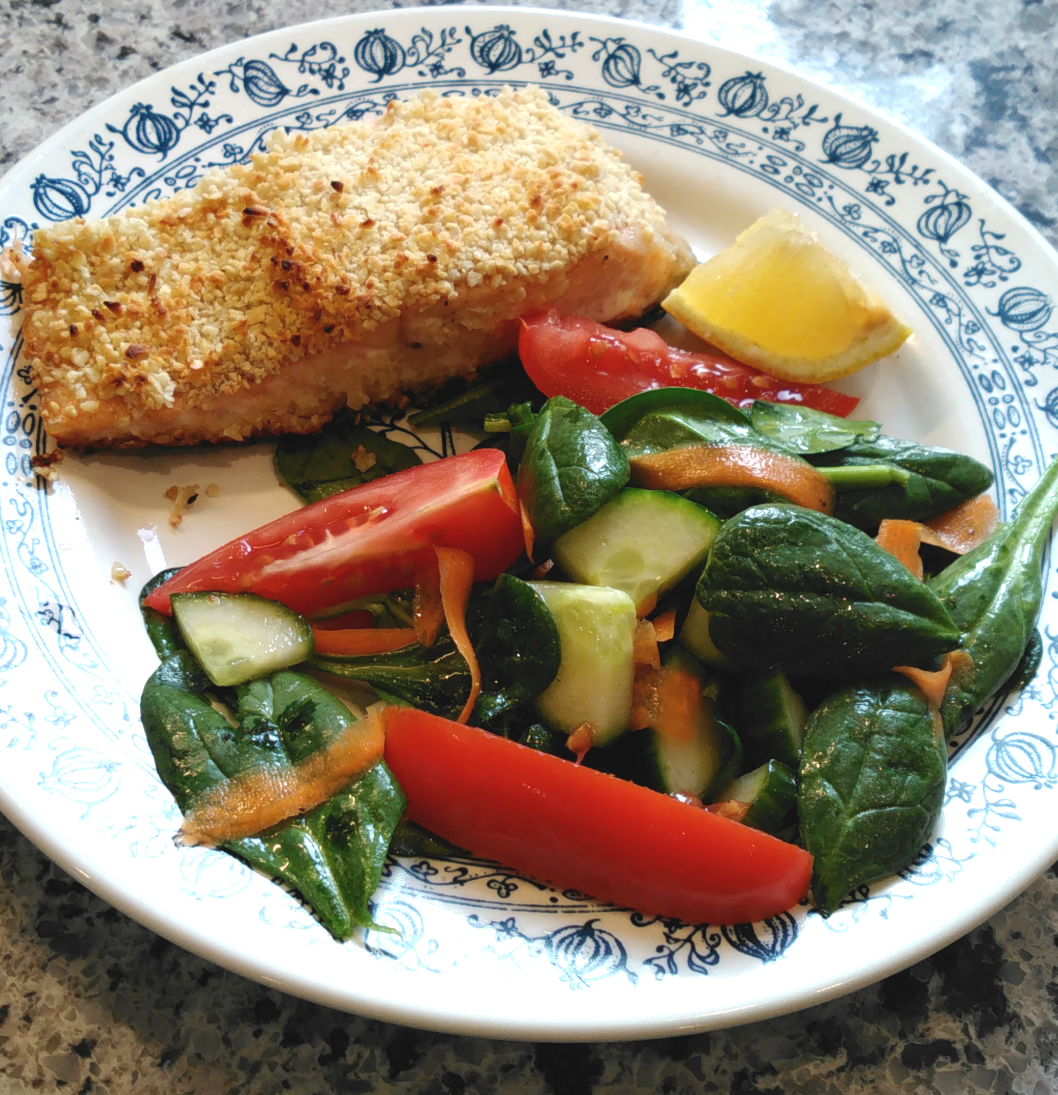 Almond-Crusted Salmon and Salad