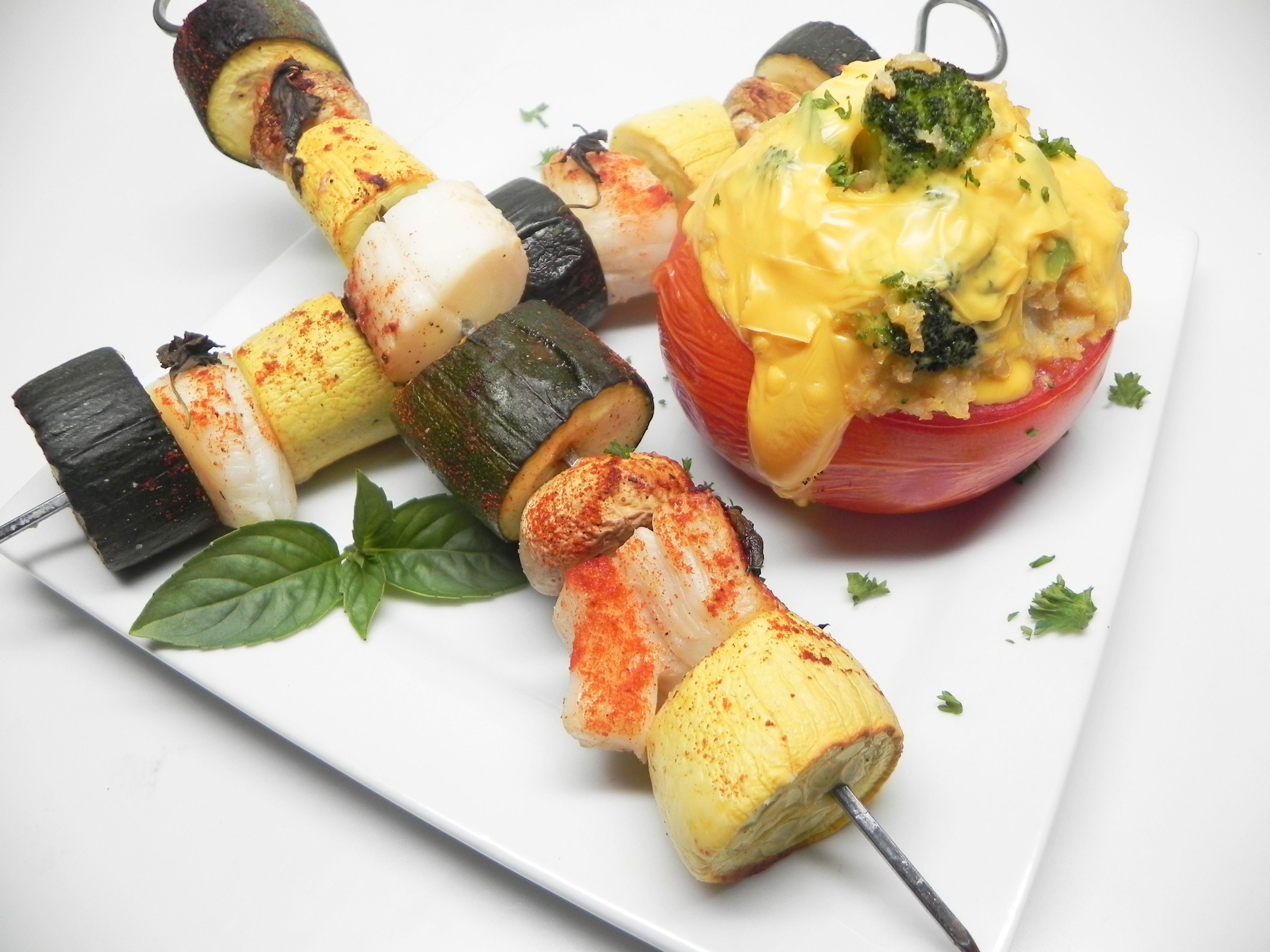 Mamita's Mojito Scallop Kabobs with Stuffed Tomatoes