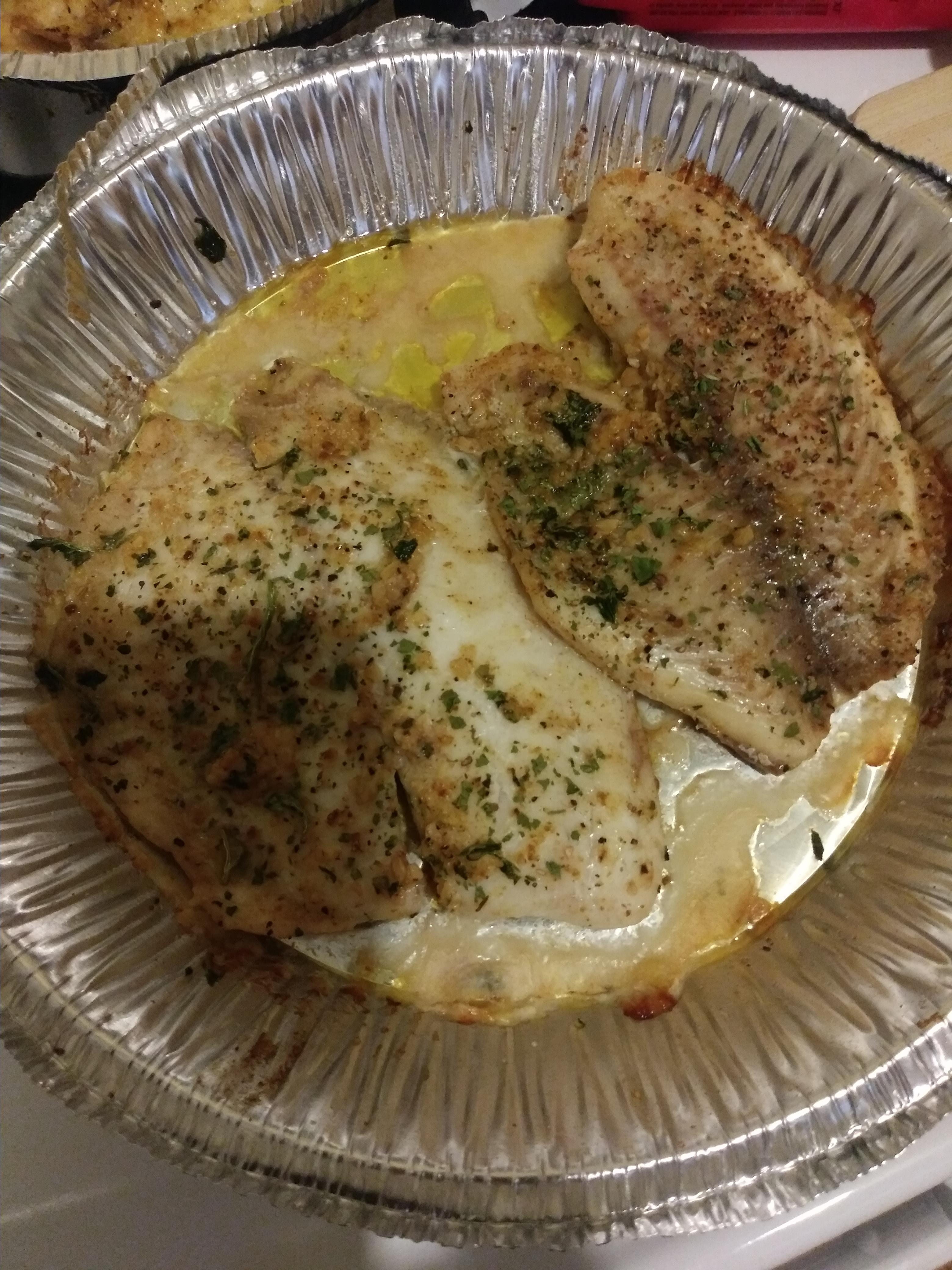 Herb Crusted Tilapia with Garlic Butter