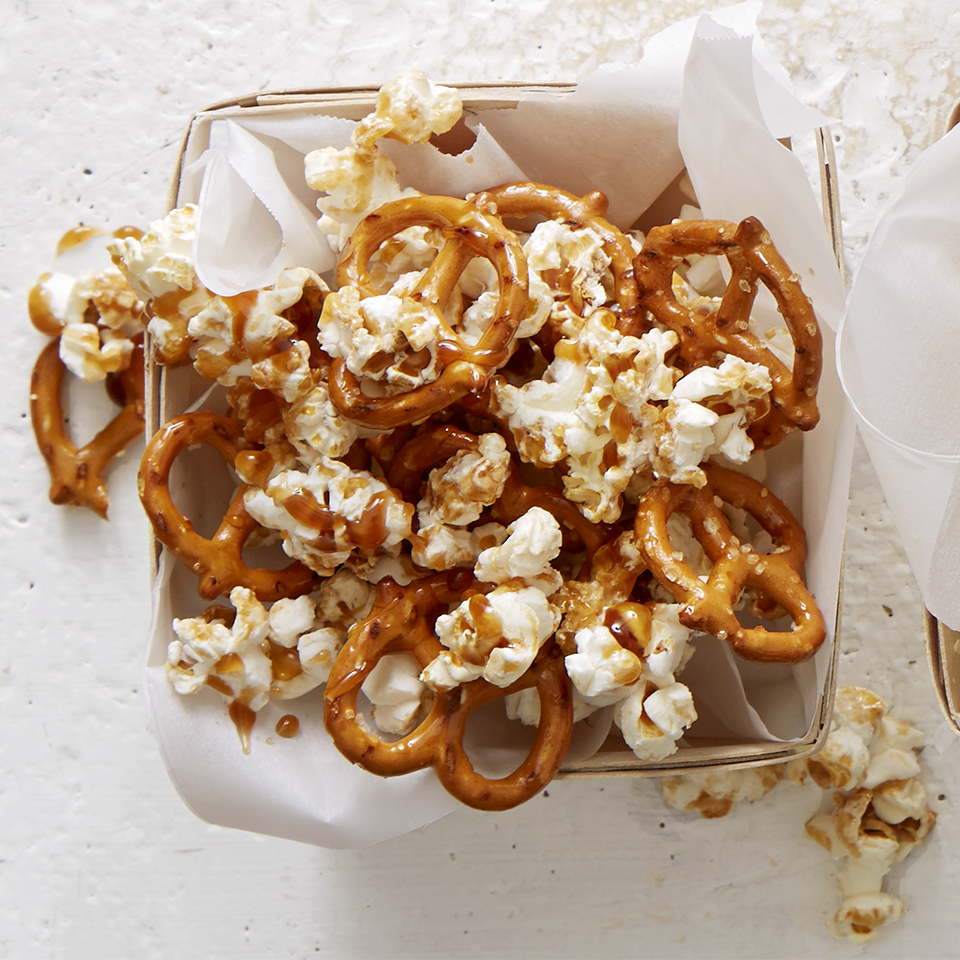 Popcorn and pretzels combine for a satisfying snack mix that's perfectly sweetened with a hint of caramel.