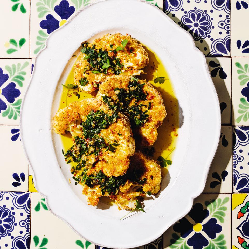 Cauliflower Steaks Milanese with Salsa Verde Julia Clancy