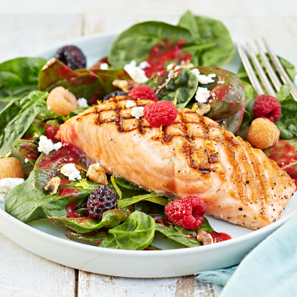 Grilled Salmon Salad With Raspberry Vinaigrette Recipe Eatingwell