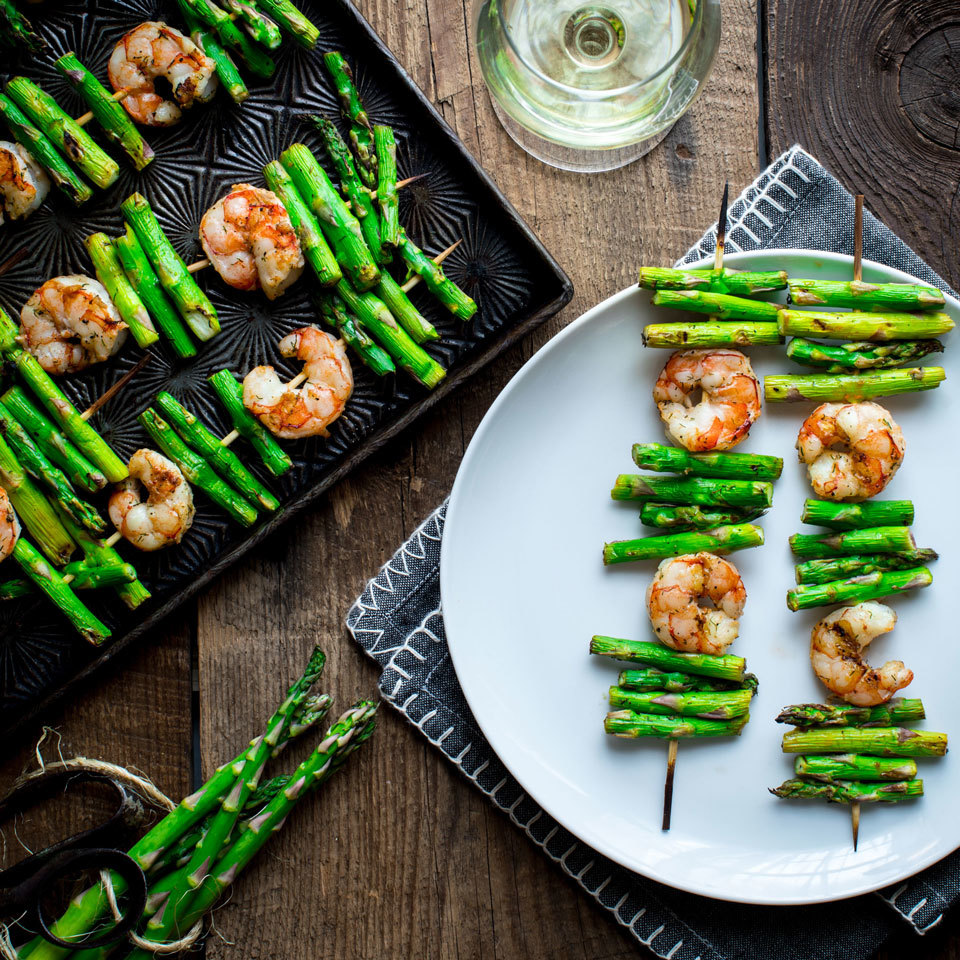 Garlic Shrimp & Asparagus Kebabs Katie Webster