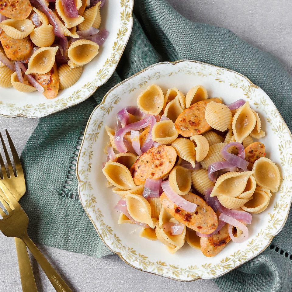 Chicken Sausage & Onion Pasta Lauren Grant