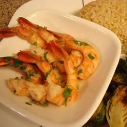 Lemon Garlic Shrimp with Roasted Brussels Sprouts and Brown Rice