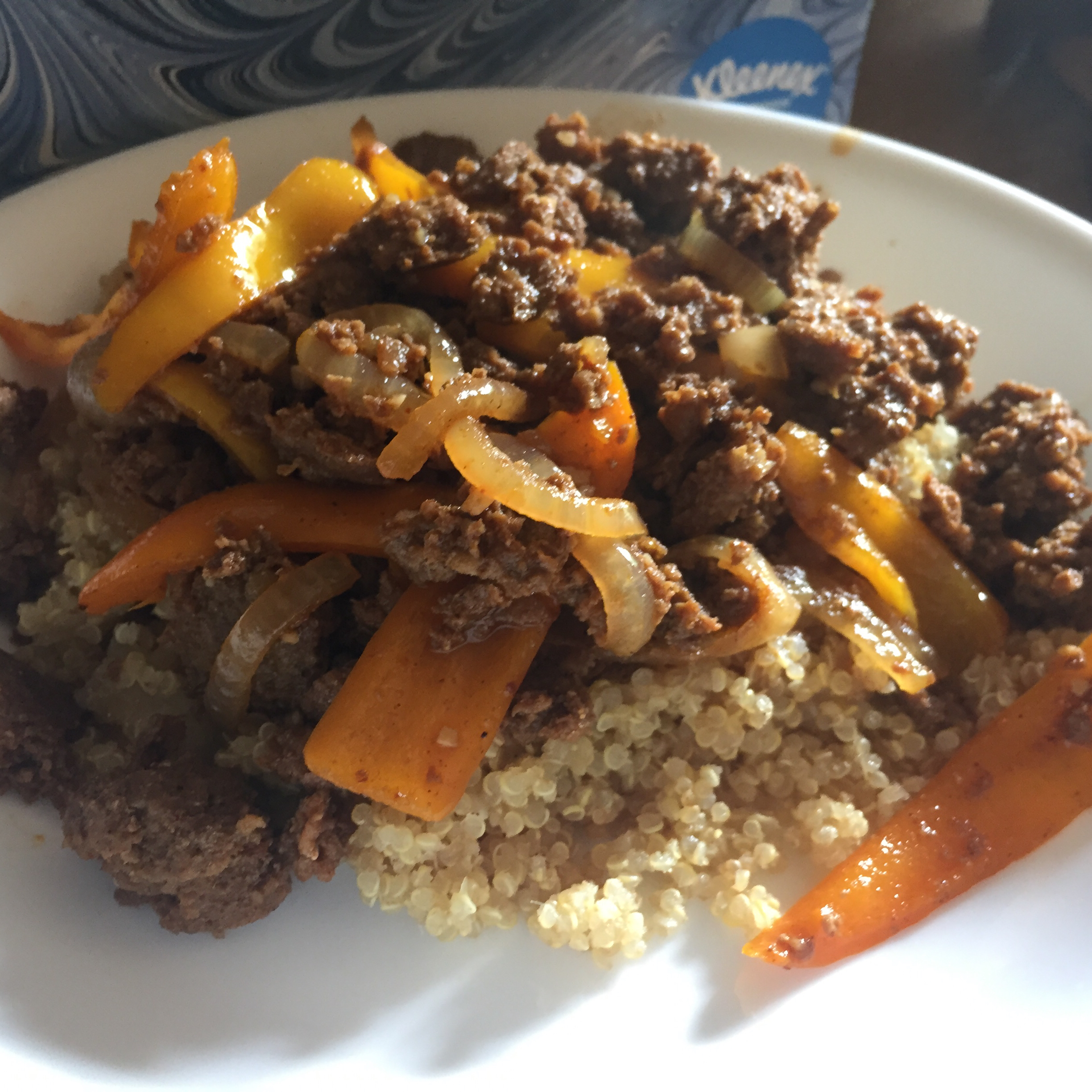 Chicken Chorizo on Quinoa with Peppers Angie