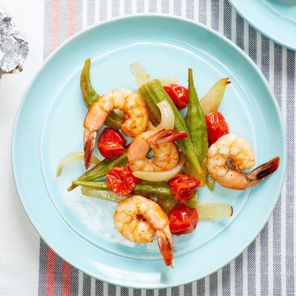 Cajun Shrimp Grill Packets with Tomatoes & Okra Joy Howard