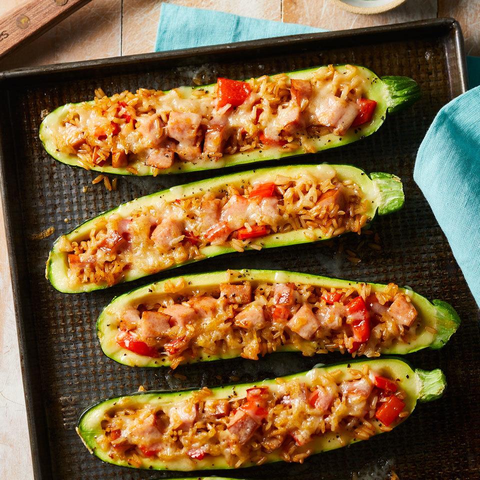 Smoked Sausage-Stuffed Zucchini Hilary Meyer