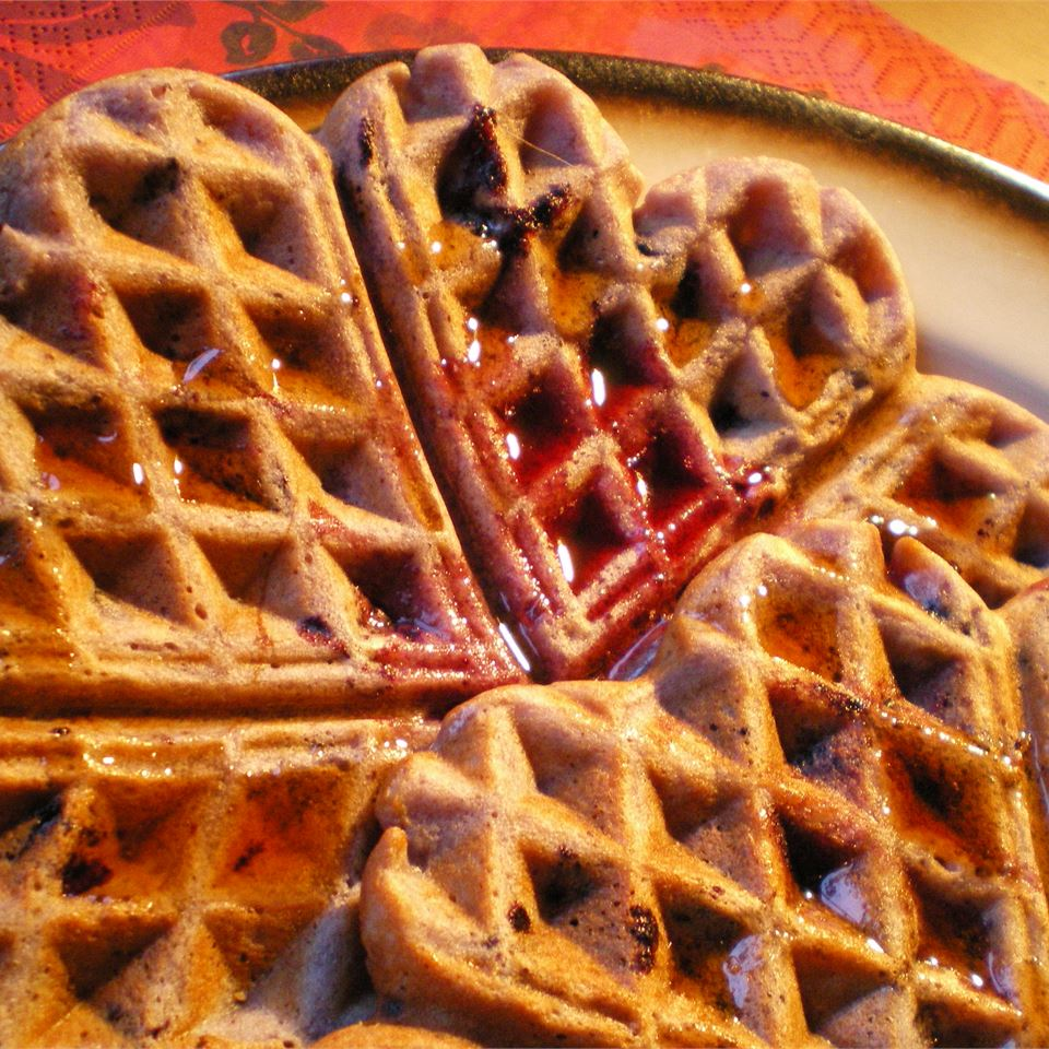 Blueberry Waffles with Fast Blueberry Sauce Nuttylicious