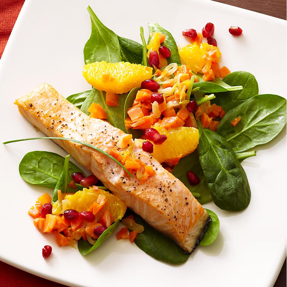 Salmon with Pomegranate-Orange Relish Diabetic Living Magazine