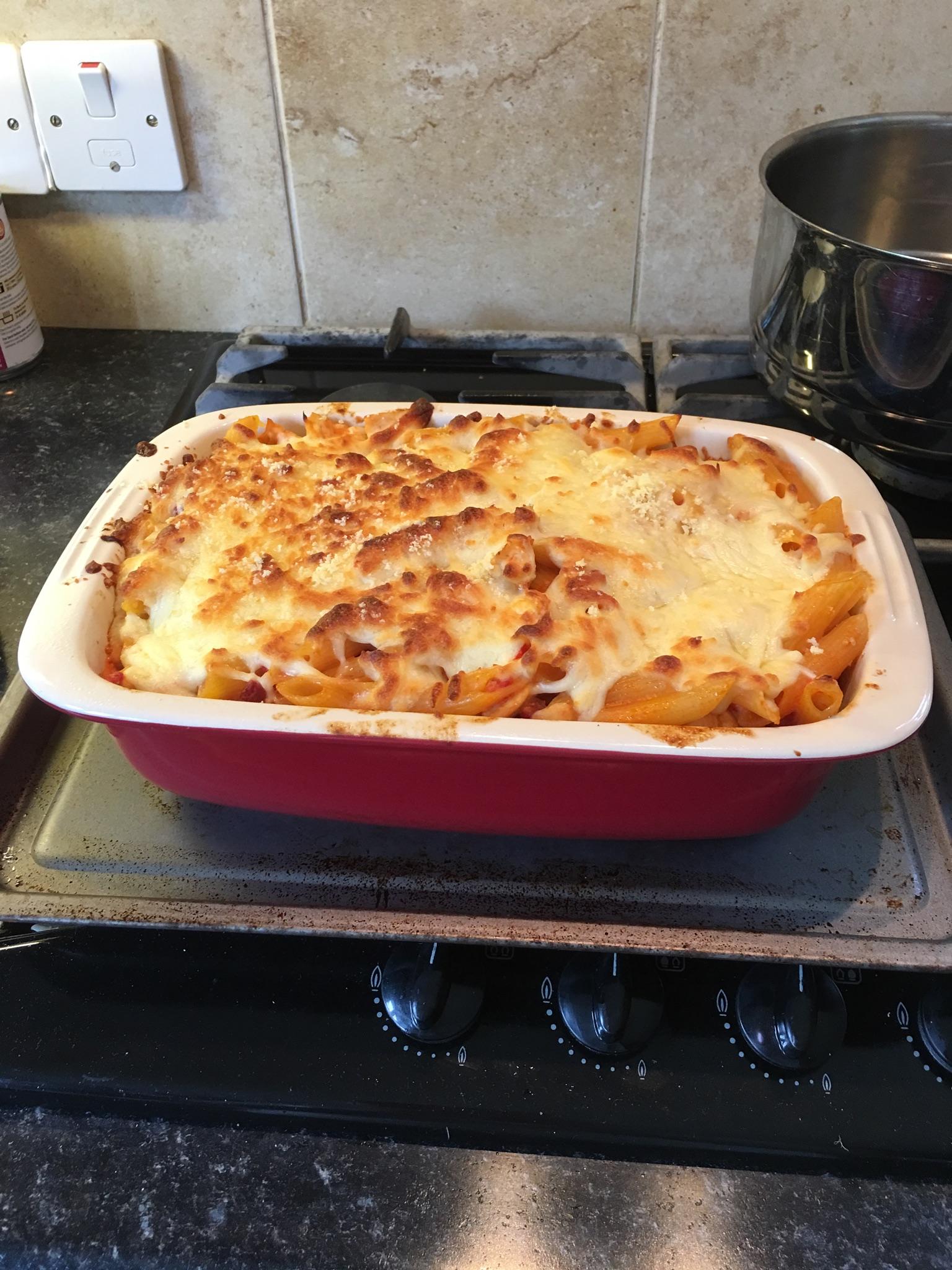 Chicken and Chorizo Pasta Bake Cathy