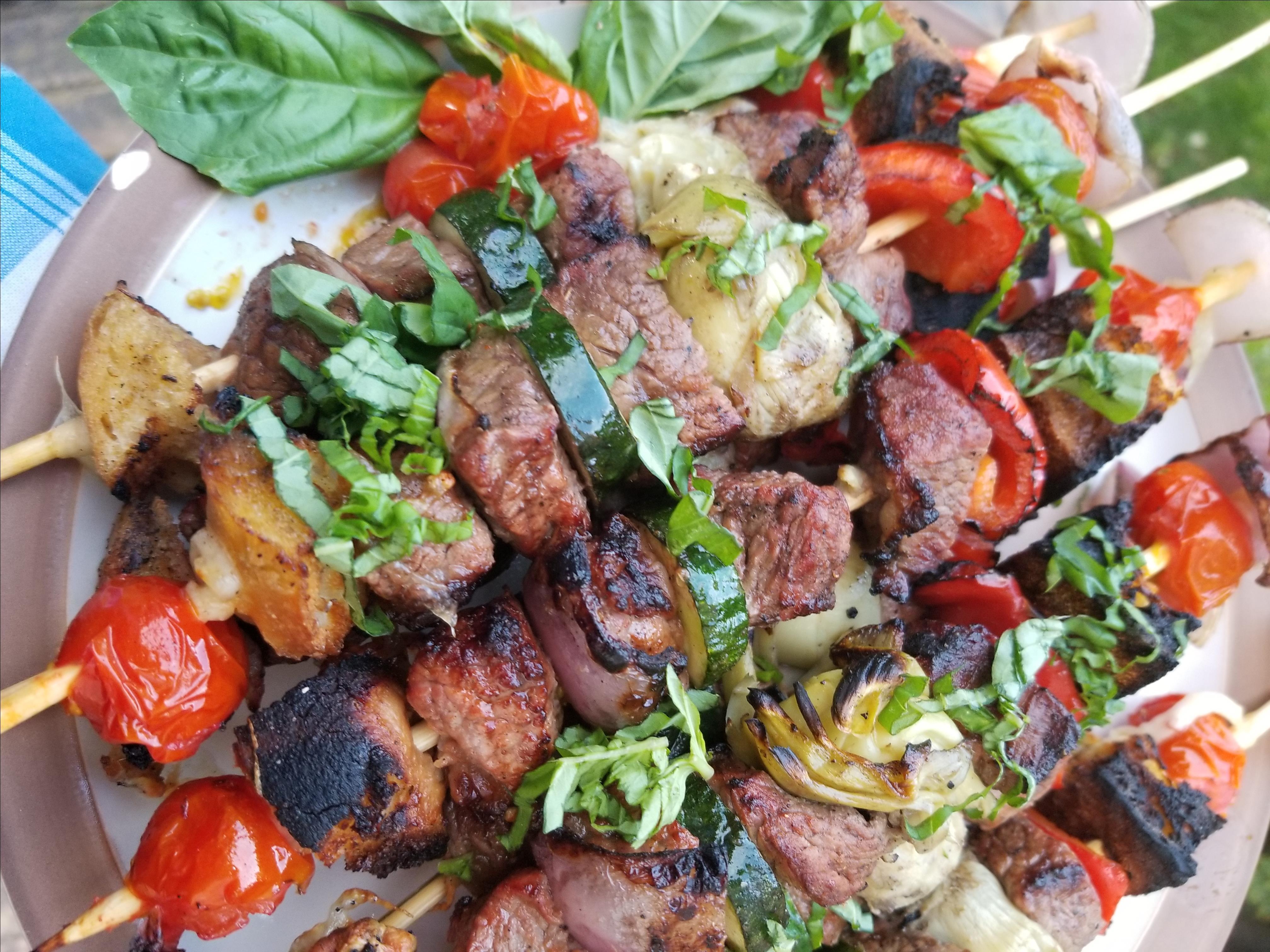 Grilled Panzanella Beef Kabobs