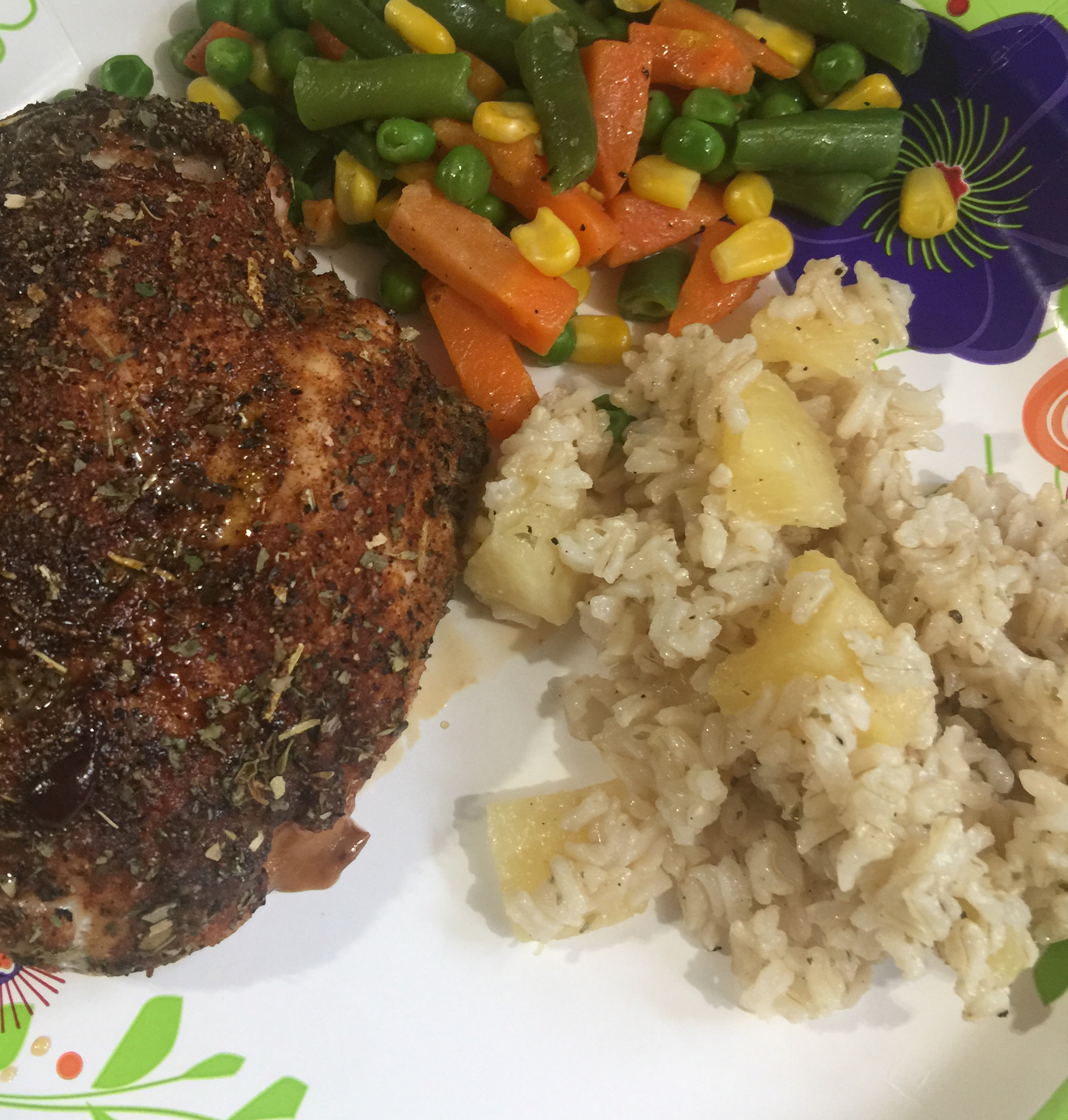 Caribbean Chicken with Pineapple-Cilantro Rice nancy