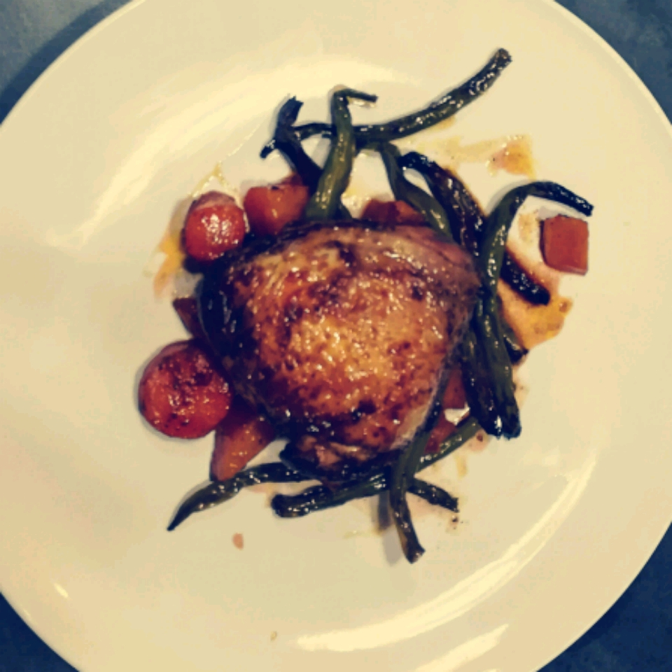 Cast Iron Honey-Sriracha Glazed Chicken with Roasted Root Vegetables Loyde