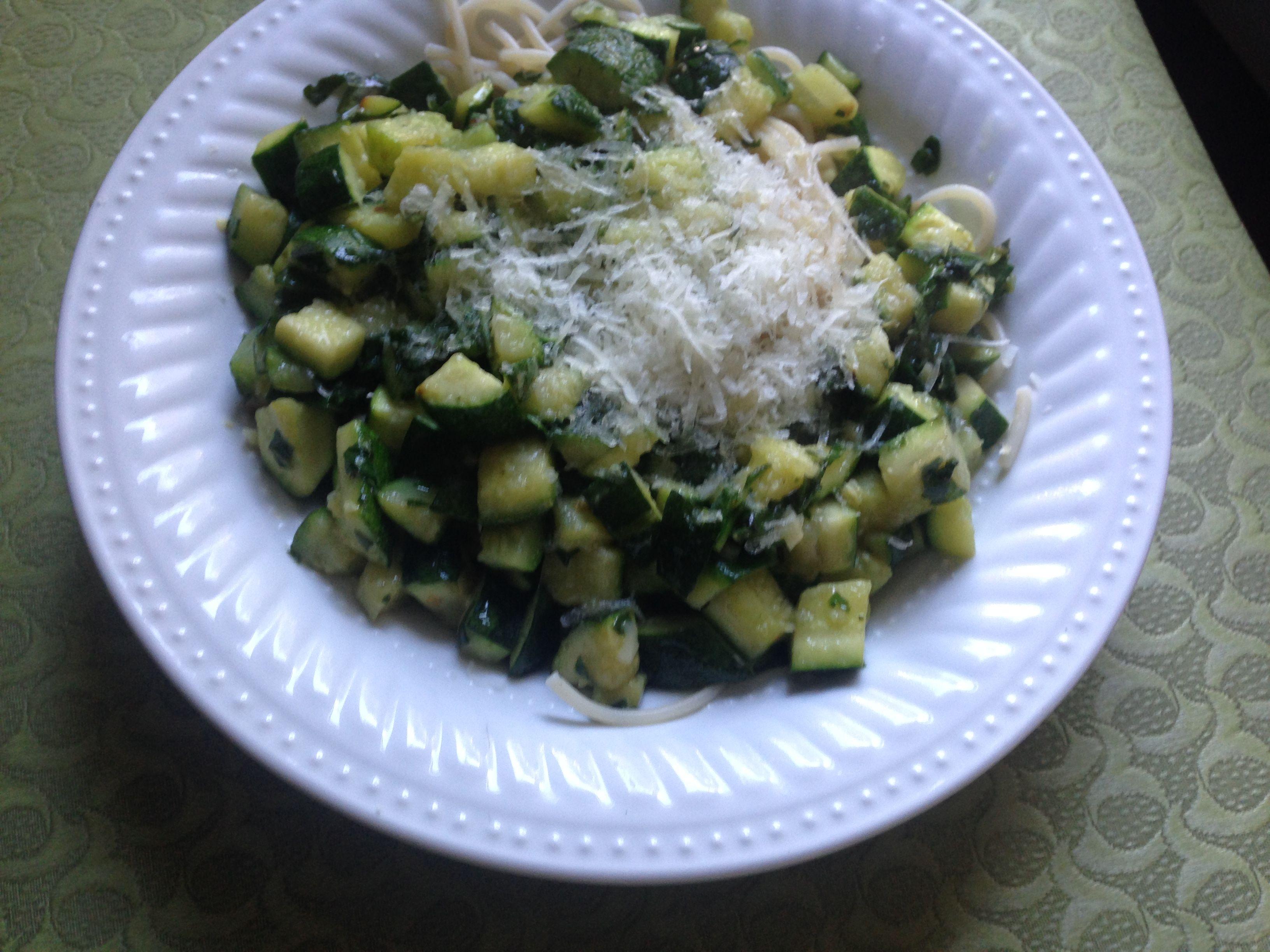 Quick Vegetarian Pasta with Zucchini and Yellow Squash