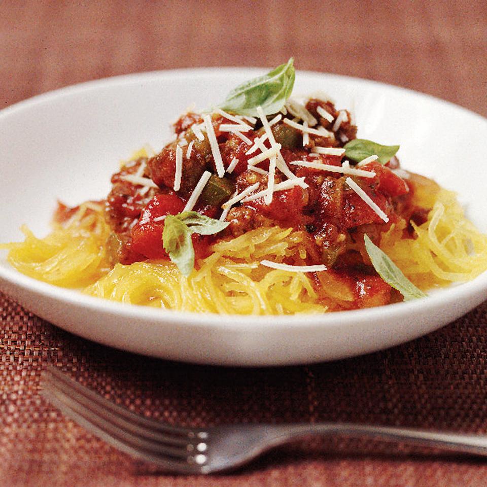 Spaghetti Squash with Chunky Tomato Sauce Diabetic Living Magazine