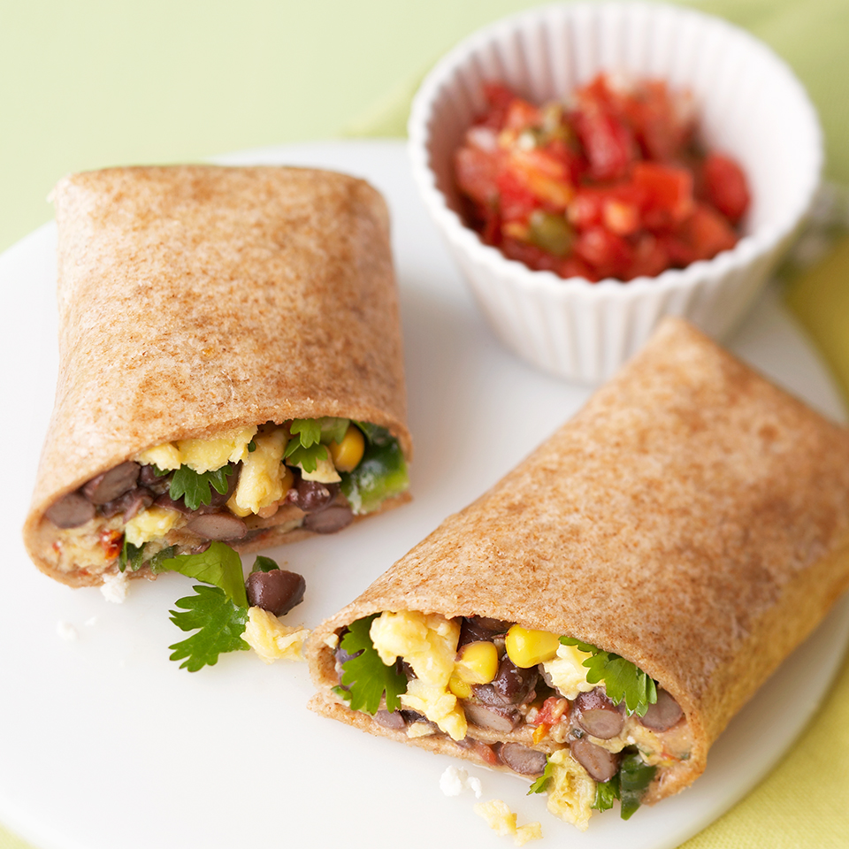 Burritos for breakfast? Loaded with beans, corn, salsa and cheese, this hearty meal will definitely get you up and going.