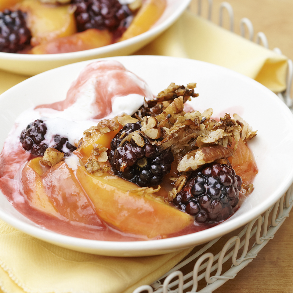 Stovetop Peach-Blackberry Crisp with Crunchy Oatmeal-Coconut Topping Diabetic Living Magazine
