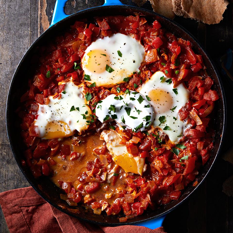 Mediterranean Egg and Tomato Skillet with Pita (Shakshouka) Diabetic Living Magazine