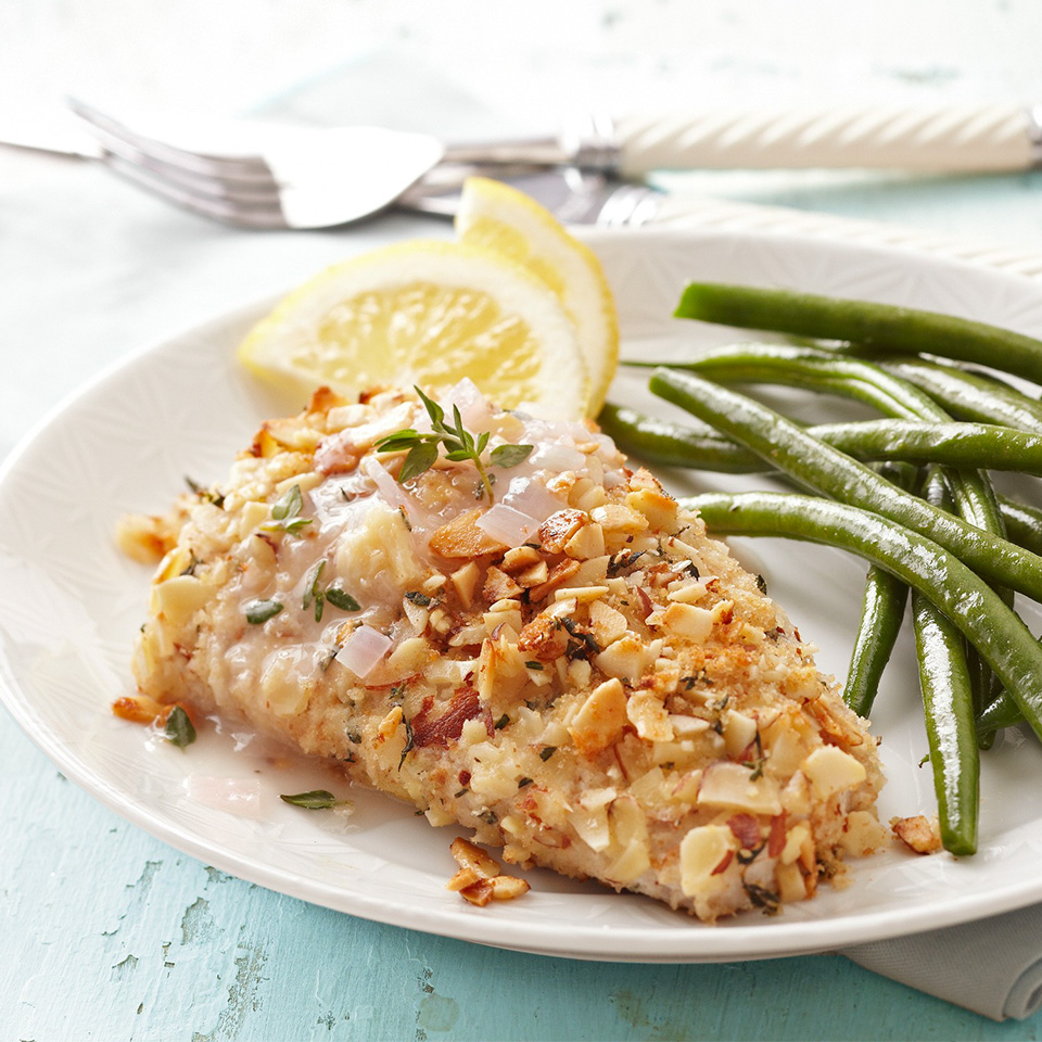 Almond-Thyme-Crusted Mahi Mahi with Lemon Chardonnay Sauce Diabetic Living Magazine