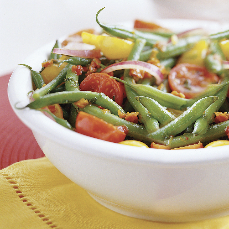 This fresh green bean salad, tossed with a homemade tomato vinaigrette, is a delicious and easy side dish, which makes for the perfect way to add a healthy option to your Thanksgiving meal without requiring a lot of prep.