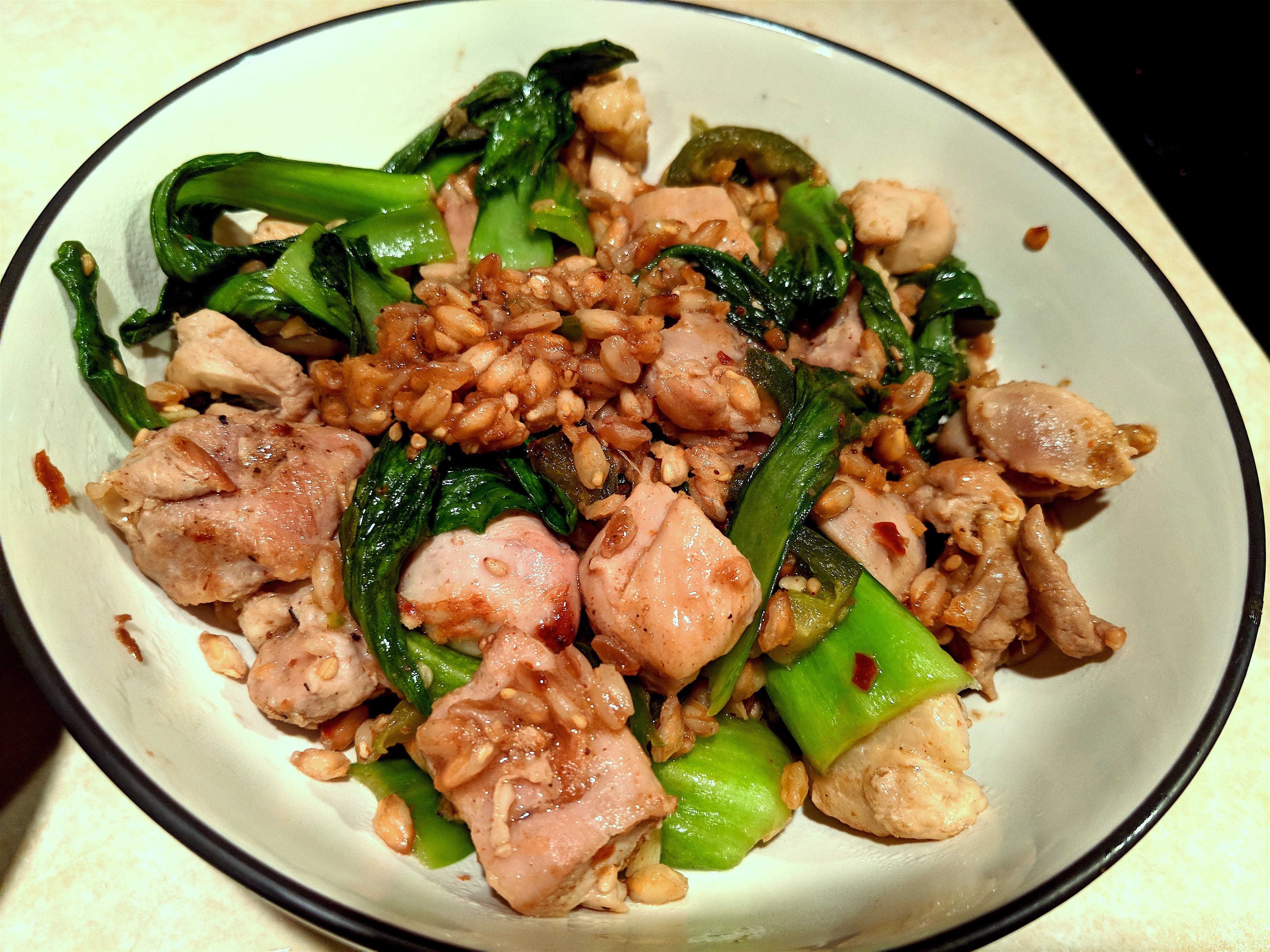 Chicken Thighs with Bok Choy and Farro