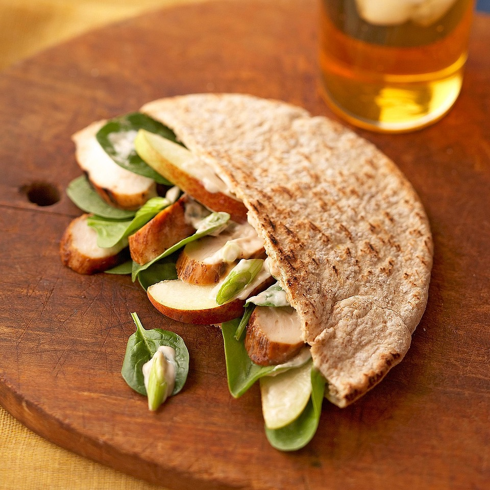 Grilled Chicken, Spinach & Pear Pitas Diabetic Living Magazine