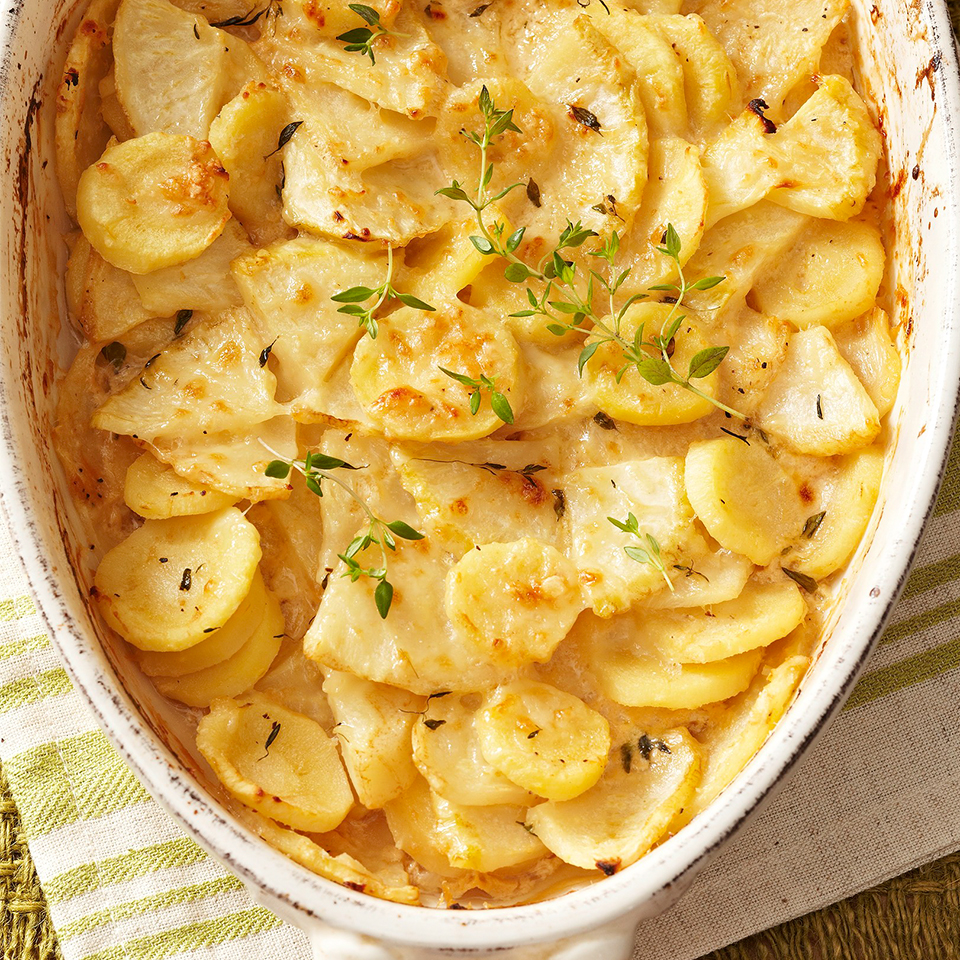 Flavorful, earthy celery root and parsnips are baked in a creamy sauce for a side dish that's perfect for fall and winter special meals.