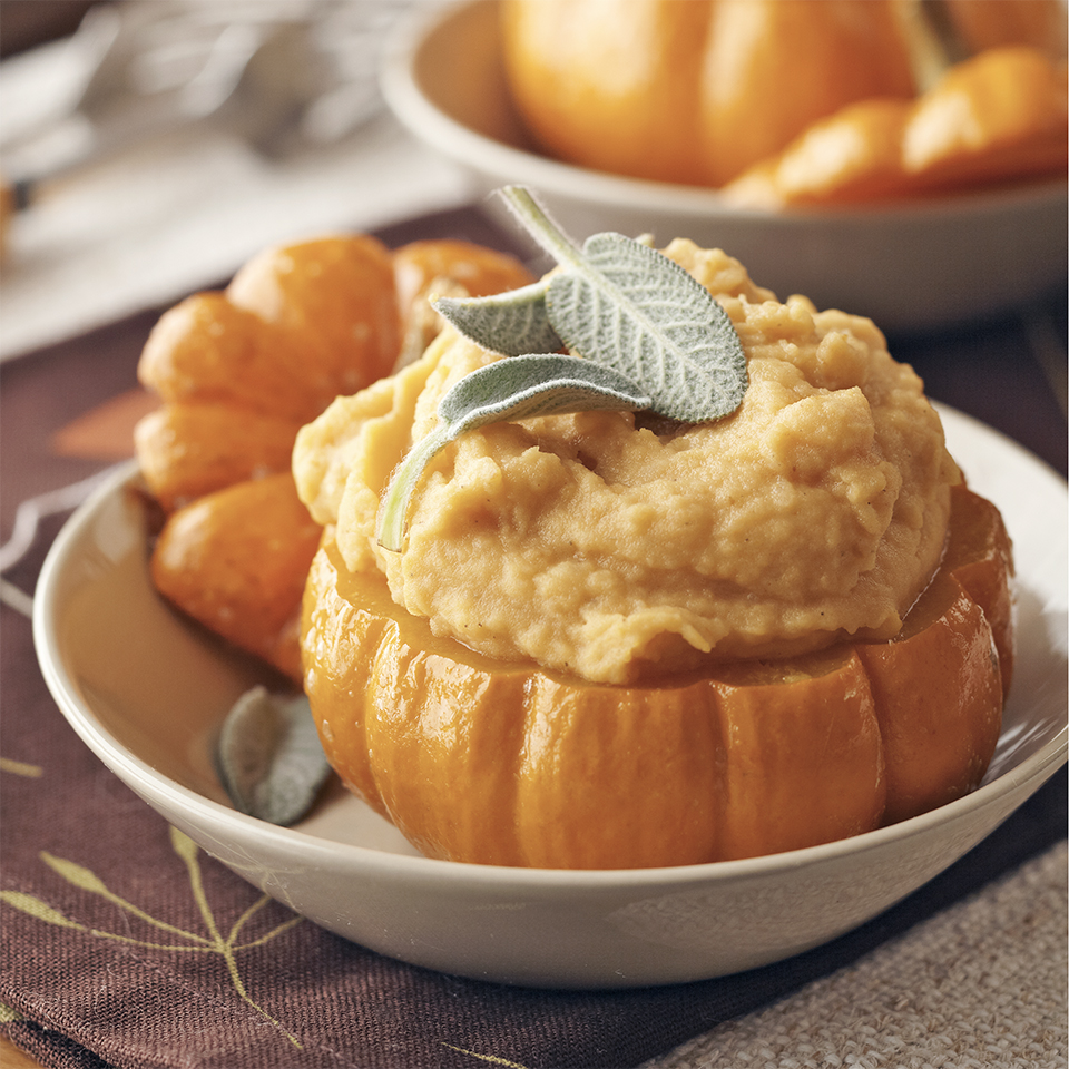 Give ordinary mashed potatoes a delicious lift of color and flavor by adding pumpkin. If you like, serve in mini pumpkins for a special presentation.