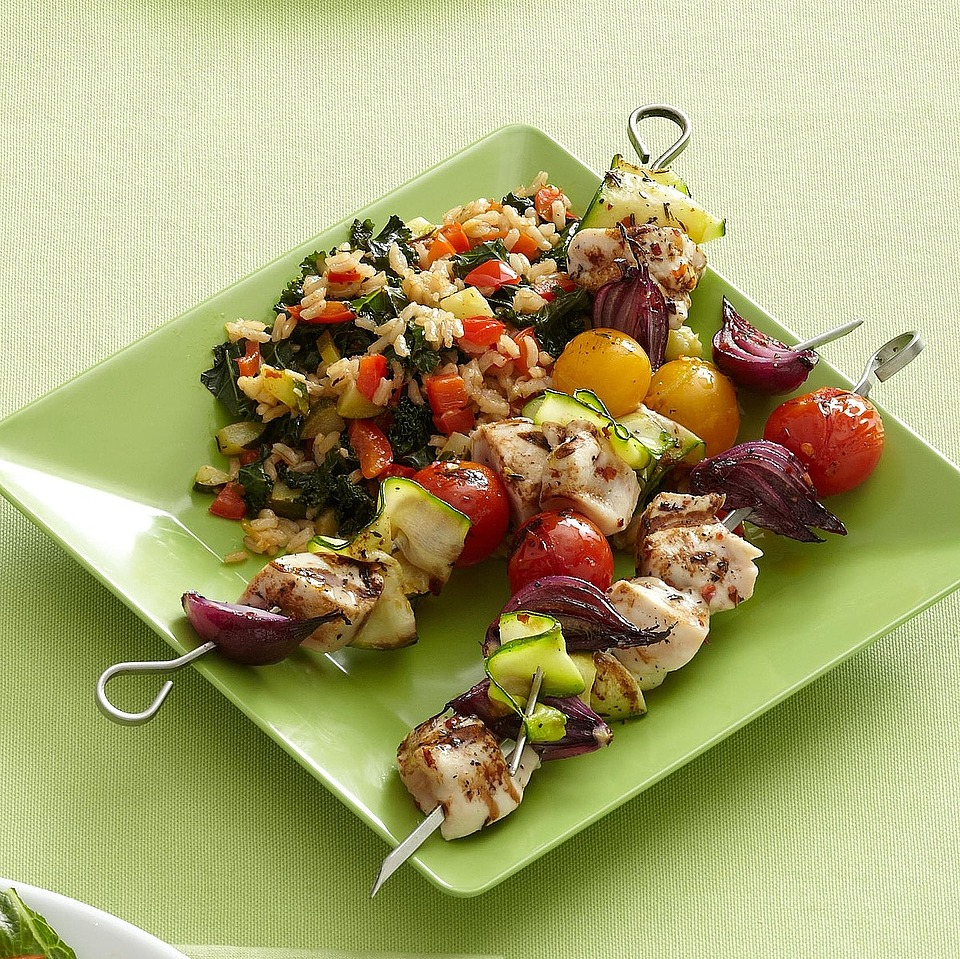 Spicy Chicken Kabobs with Vegetable Rice Diabetic Living Magazine