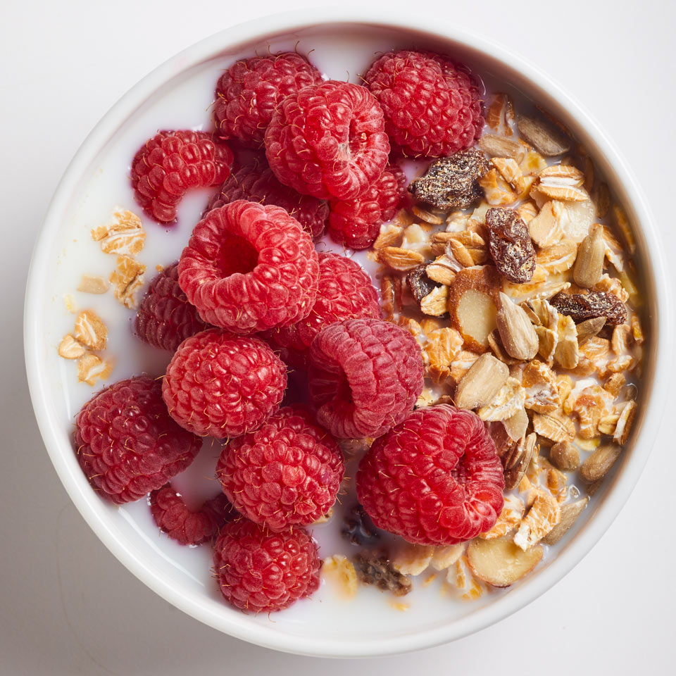Unlike granola, muesli isn't baked with sweeteners or oil. Make your own or find your favorite brand in most supermarkets—we like Bob's Red Mill.