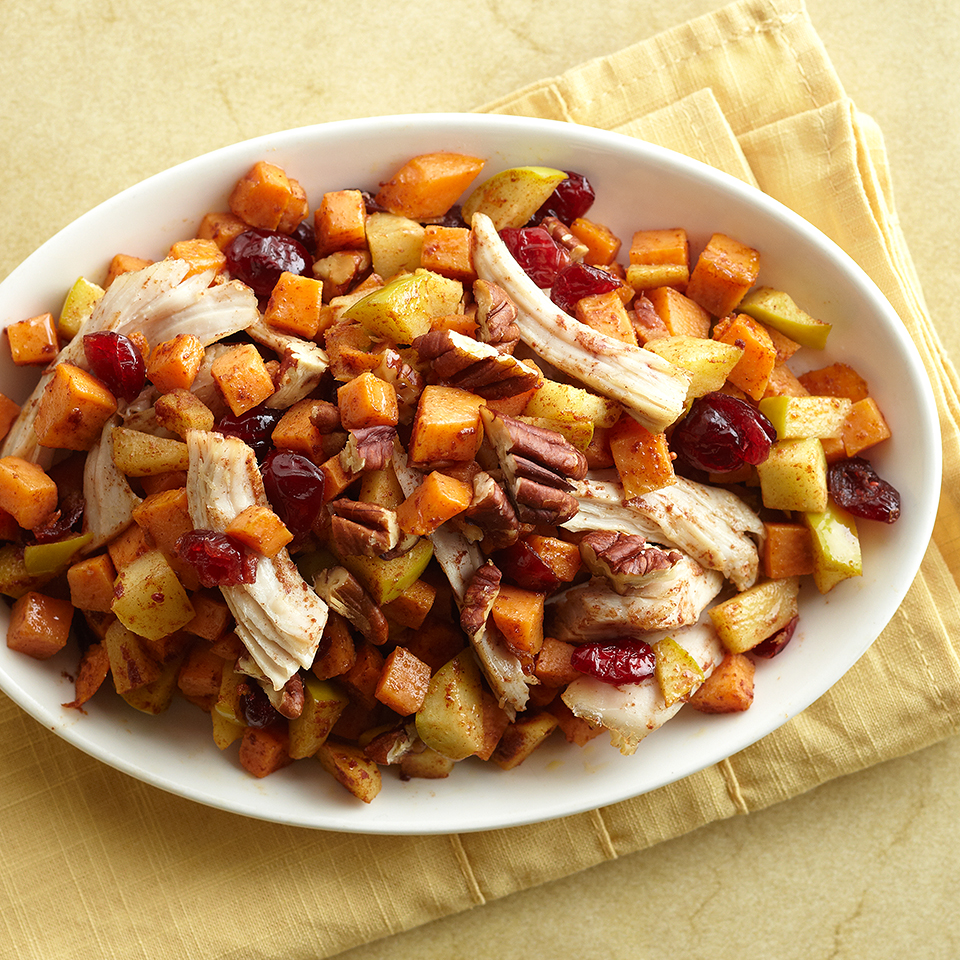 Put your turkey leftovers to good use in this simple hash recipe. You'll love how the sweet potatoes, apples, cranberries, and cinnamon combine with the turkey to create a complete meal.