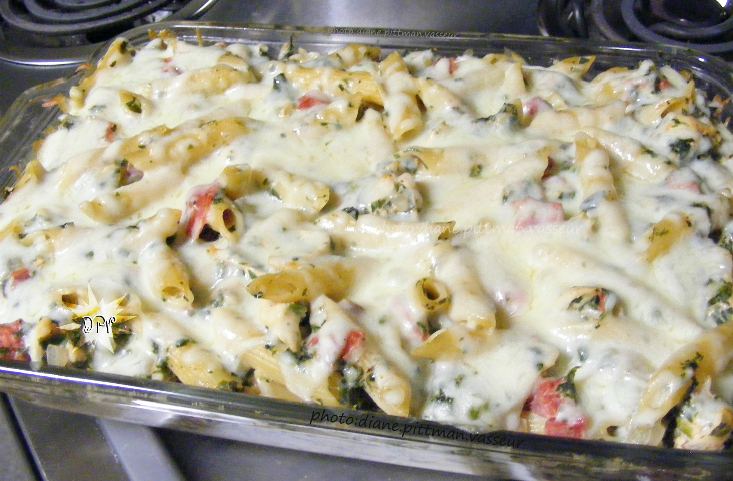 Chicken, Spinach, and Cheese Pasta Bake
