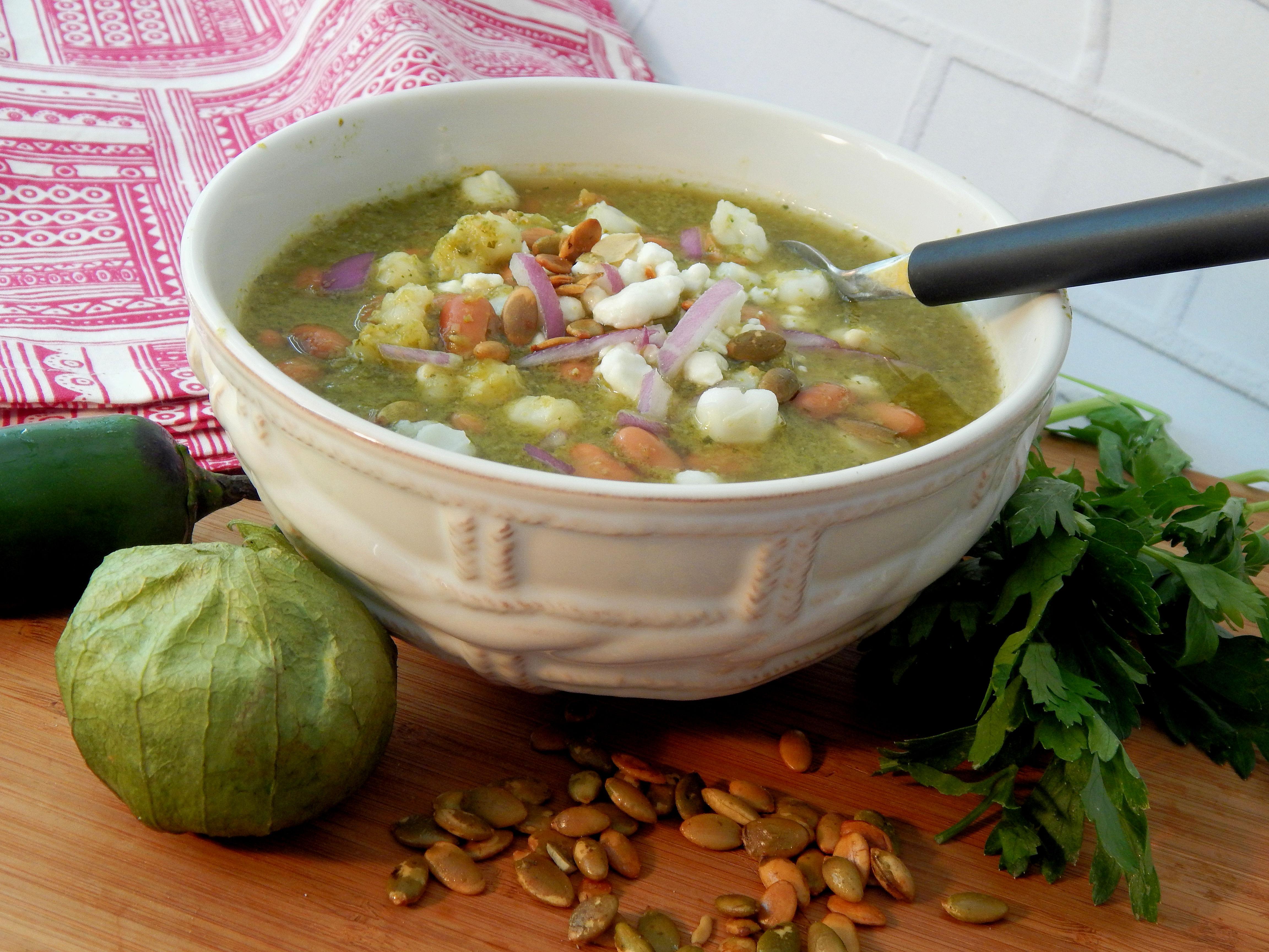 Vegetarian Pozole Verde (Hominy Soup)