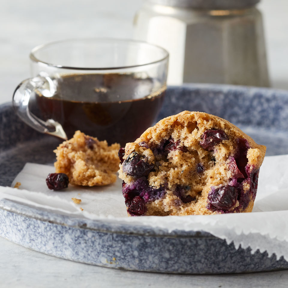 These blueberry muffins may not have eggs or milk, but they are light, fluffy and loaded with sweet fruity flavor. Flaxseed acts as an egg replacement in these vegan muffins that are perfect for a quick breakfast, Sunday brunch or late-night snack. Be sure to add the blueberries in with the dry ingredients, or they'll turn the batter purple.