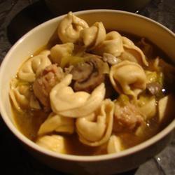 Mushroom, Leek, Chicken Sausage and Tortellini Soup Connor Ball