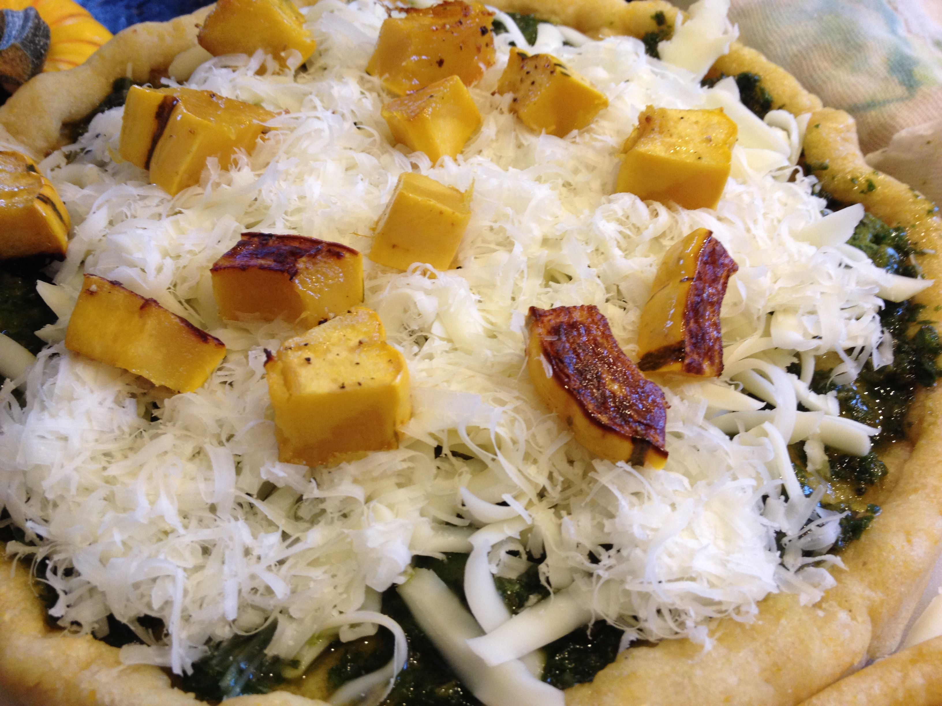 Vegetarian Pizza with Pesto and Delicata Squash